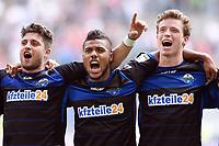 Fotball, 30 August 2014,<br /> Fussball Bundesliga, Hamburger SV - SC Paderborn 07 0:3<br /> Schlussjubel v.l. Moritz Stoppelkamp, Elias Kachunga, Patrick Ziegler (Paderborn)<br /> Norway only