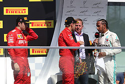 June 9, 2019 - Montreal, Canada - xa9; Photo4 / LaPresse.09/06/2019 Montreal, Canada.Sport .Grand Prix Formula One Canada 2019.In the pic:podium.1st position Lewis Hamilton (GBR) Mercedes AMG F1 W10 .2nd position Sebastian Vettel (GER) Scuderia Ferrari SF90 .3rd position Charles Leclerc (MON) Scuderia Ferrari SF90 (Credit Image: © Photo4/Lapresse via ZUMA Press)