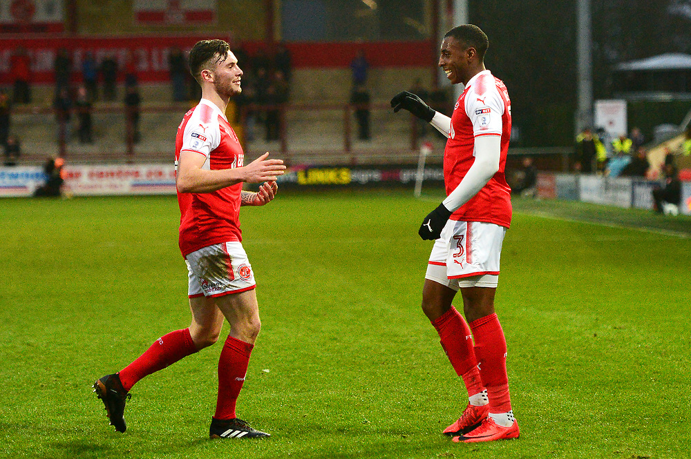 Fleetwood Town's Amari'i Bell (R) celebrates scoring his side's first goal with team-mate Aiden O'Neill<br /> <br /> Photographer Richard Martin_Roberts/CameraSport<br /> <br /> The EFL Sky Bet League One - Fleetwood Town v Peterborough United - Sunday 17th December 2017 - Highbury Stadium - Fleetwood<br /> <br /> World Copyright © 2017 CameraSport. All rights reserved. 43 Linden Ave. Countesthorpe. Leicester. England. LE8 5PG - Tel: +44 (0) 116 277 4147 - admin@camerasport.com - www.camerasport.com