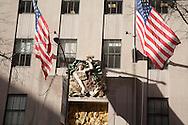 New York. art deco sculpture on the facade of the Rockfeller center  on fifth avenue /   sculpture sur le Rockfeller center sur la cinqieme avenue  New York