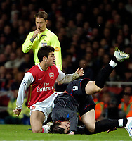 Photo: Ed Godden.<br /> Arsenal v CSKA Moscow. UEFA Champions League, Group G. 01/11/2006. Arsenal's Cesc Fabregas (L) fouls Ivica Olic.