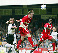 Photo: Chris Ratcliffe.<br />Southend United v Bristol City. Coca Cola League 1. 06/05/2006.<br />Richard Keogh (R) of Bristol City gets a header away under the attentions of Che Wilson of Southend United.