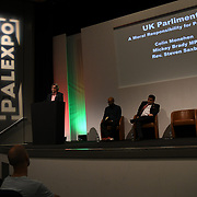 Speakers of UK Parliament: A Moral Responsibility for Palestine with Colin Monehen, Mickey Brady MP and Ahmed Mahdud at Palestine Expo 2019 on 7 July 2019, at London Olympia, UK.
