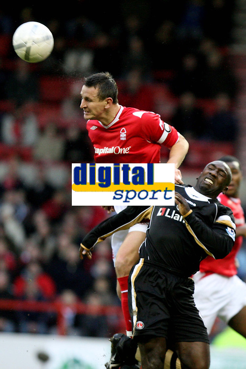 Photo: Pete Lorence.<br />Nottingham Forest v Charlton Athletic. The FA Cup. 06/01/2007.<br />Ian Breckin leaps over Jimmy Floyd Hasselbaink.
