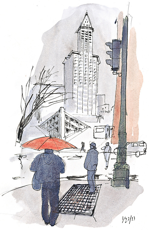 A red umbrella brightens up a gray day in downtown Seattle.<br /> <br /> Gabriel Campanario / The Seattle Times