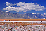 Tourists on the salt pan at Badwater (lowest point in the US), Death Valley National Park, California