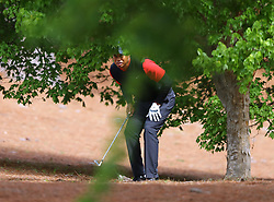 April 8, 2018 - Augusta, Georgia, U.S. - TIGER WOODS prepares to hit out of the woods off the second fairway during his final round in the Masters at Augusta National Golf Club on Sunday. (Credit Image: © Curtis Compton/TNS via ZUMA Wire)