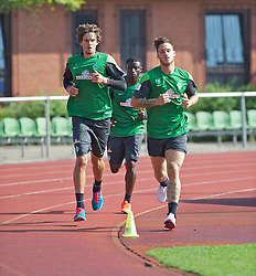 27.08.2013, Weserstadion, Bremen, GER, 1.FBL, Training SV Werder Bremen, im Bild, von links, Mateo Pavlovic (SV Werder Bremen #4), Joseph Akpala (SV Werder Bremen #19) und Marko Arnautovic (SV Werder Bremen #7) beim Laktattest // during the training session of the German Bundesliga Club SV Werder Bremen at the Weserstadion, Bremen, Germany on 2013/08/27. EXPA Pictures © 2013, PhotoCredit: EXPA/ Andreas Gumz <br /> <br /> ***** ATTENTION - OUT OF GER *****