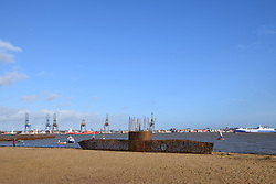 Willow u-boat being constructed on Harwich beach to commemorate 100th anniversary of the German u-boat fleet surrendering at the end of WW1. November 2018
