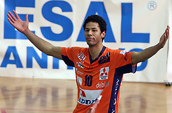 Delano Thomas of ACH Volley celebrating at 4th and final match of Slovenian Voleyball  Championship  between OK Salonit Anhovo (Kanal) and ACH Volley (from Bled), on April 23, 2008, in Kanal, Slovenia. The match was won by ACH Volley (3:1) and it became Slovenian Championship Winner. (Photo by Vid Ponikvar / Sportal Images)/ Sportida)