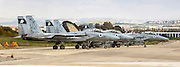 Panoramic view of a squadron of Israeli Air force (IAF) Fighter jet F-15 (BAZ) on the ground