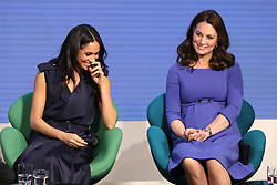 February 28, 2018 - London, London, United Kingdom - Image licensed to i-Images Picture Agency. 28/02/2018. London, United Kingdom.The Duke and Duchess of Cambridge, Prince Harry and Meghan Markle at the first Royal Foundation Forum in London. Under the theme ÔMaking a Difference Together,Ã• the event  showcased the programmes run or initiated by The Royal Foundation. (Credit Image: © Rota/i-Images via ZUMA Press)