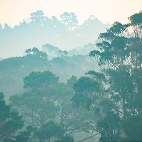 Smoke from forest fires in northern California chokes the air in Montara, California.