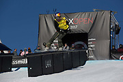 Austrian professional snowboarder, Anna Gasser riding the rail section during the 2017 Laax Open Slopestyle final on 20th January 2017 in Laax, Switzerland. The Laax Open is a FIS Snowboarding World Championship competition in Laax ski resort.