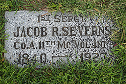 31 August 2017:   Veterans graves in Park Hill Cemetery in eastern McLean County.<br /> <br /> 1st Sergeant Jacob R Severns Co A 11th Mo Vol INF 1840 - 1927