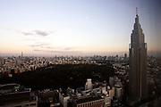 Overzicht van het oosten van Tokyo, met rechtsonder het megawarenhuis Takashimaya Times Square, in het midden Shinjuku Gyoen Park en rechts de toren van NTT DoCoMo Tokyo Building.