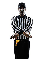 american football referee gestures penalty refused in silhouette on white background