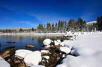 24 February 2008: View of Kings Beach covered in snow after a late winter storm in Lake Tahoe, Truckee Nevada California border in the Sierra Mountains.