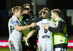 Glasgow Warriors' George Horne celebrates scoring his sides second try<br /> <br /> Photographer Simon King/Replay Images<br /> <br /> Guinness PRO14 Round 14 - Dragons v Glasgow Warriors - Friday 9th February 2018 - Rodney Parade - Newport<br /> <br /> World Copyright © Replay Images . All rights reserved. info@replayimages.co.uk - http://replayimages.co.uk
