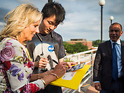 28 JUNE 2019 - DES MOINES, IOWA: Dr. JILL BIDEN, left, signs autographs after speaking to voters at the State Historical Museum of Iowa. Dr. Biden was in Des Moines Friday to campaign for her husband, former Vice President Joe Biden. Vice President Biden, who was Vice President for 8 years during the Obama administration, is one of the Democratic front runners for the Presidency. Iowa traditionally hosts the the first selection event of the presidential election cycle. The Iowa Caucuses will be on Feb. 3, 2020.             PHOTO BY JACK KURTZ