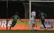 Geraldes of Rio Ave scores and celebrates during the Europa League match between Rio Ave FC and AC Milan at Estadio dos Arcos, Vila do Conde, Portugal on 1 October 2020.
