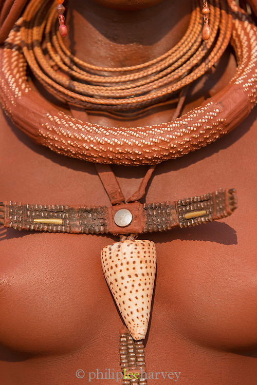 Detail of Necklace, Woman of the Himba Tribe, Kunene Region, Northern Namibia, Southern Africa