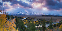 Sunset at the Snake River Overlook in Grand Teton National Park in the Fall.