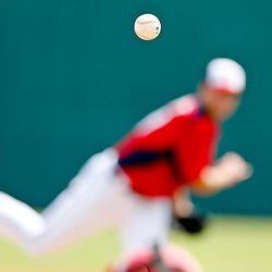Mar 9, 2013; Melbourne, FL, USA; A detail of the baseball as Washington Nationals pitcher Chris Young throws against the Miami Marlins during the top of the third inning of a spring training game at Space Coast Stadium. Mandatory Credit: Derick E. Hingle-USA TODAY Sports