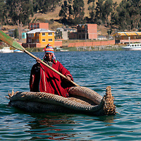 South America, Bolivia, Lake Titicaca. Traditional Reed Boat of the Quewaya on Lake Titicaca.