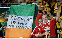 22 June 2013; British & Irish Lions supporters, from left, James Noonan, from Knocklong, Co. Limerick, Ciara Murphy, from Hospital, Co. Limerick, and Kevin Walsh, from Mahon, Cork, at the game. British & Irish Lions Tour 2013, 1st Test, Australia v British & Irish Lions, Suncorp Stadium, Brisbane, Queensland, Australia. Picture credit: Stephen McCarthy / SPORTSFILE