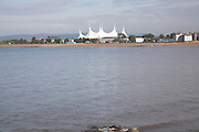View over the bay to the roof of Butlins holiday camp, Minehead, Somerset, England