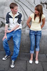 Teenage couple talking.