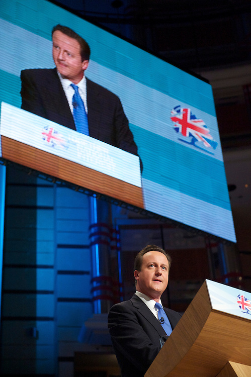 Prime Minister David Cameron delivers his leader's speech on the fourth, and final, day of the Conservatives Party Conference at the ICC, Birmingham, England on October 6, 2010.  Mr. Cameron delineated the controversial spending cuts which have drawn much ire of the public and fellow MPs alike.