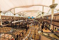 Line for TSA Airport security at Denver International Airport, Denver, Colorado USA.