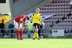 Bristol City's Aden Flint and Bristol City Goalkeeper, Frank Fielding look disappointed after losing to Coventry City 4 - 3 - Photo mandatory by-line: Dougie Allward/JMP - Tel: Mobile: 07966 386802 11/08/2013 - SPORT - FOOTBALL - Sixfields Stadium - Sixfields Stadium -  Coventry V Bristol City - Sky Bet League One