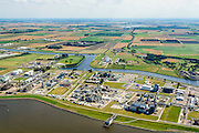 Nederland, Groningen, Delfzijl, 05-08-2014; haven Delfzijl met Chemie Park Delfzijl en Eemskanaal. <br /> Delfzijl, port and Chemical Park Delfzijl. Eemskanaal.<br /> luchtfoto (toeslag op standard tarieven);<br /> aerial photo (additional fee required);<br /> copyright foto/photo Siebe Swart