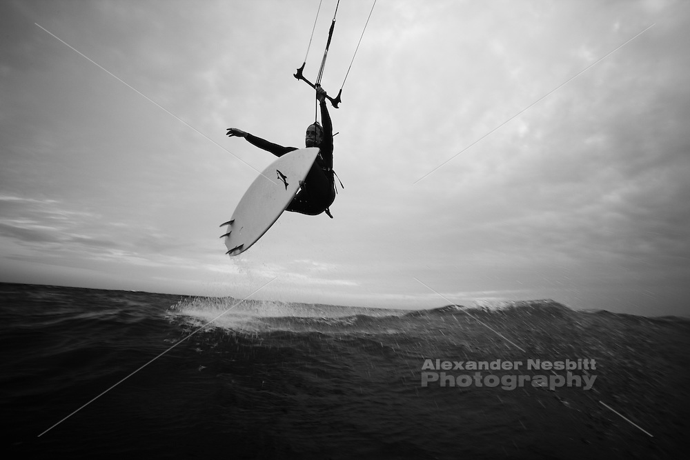 Sachuest Beach, Middletown, RI - Mark Miedema kiteboarding - jumps and airs on a strapless surfboard