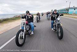 "Chris Wade (L) riding his custom 1953 Harley-Davidson Panhead ""Supafly"" beside Bryan Lane of Waxhaw, NC on his 1947 custom Harley-Davidson Knucklehead bobber along A1A near Flagler Beach during Daytona Beach Bike Week. FL. USA. Tuesday, March 14, 2017. Photography ©2017 Michael Lichter."