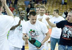 Aleksej Nesovic celebrates at third finals basketball match of Slovenian Men UPC League between KK Union Olimpija and KK Helios Domzale, on June 2, 2009, in Arena Tivoli, Ljubljana, Slovenia. Union Olimpija won 69:58 and became Slovenian National Champion for the season 2008/2009. (Photo by Vid Ponikvar / Sportida)
