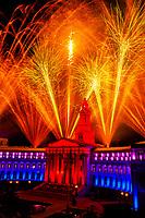 Fireworks above the City and County Building, Independence Eve, Civic Center Park, Denver, Colorado USA