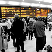 Departures board kings cross train, London, England (November 2004)