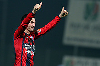 FOOTBALL - FRENCH CHAMPIONSHIP 2011/2012 - CLERMONT FA v STADE DE REIMS  - 28/11/2011 - PHOTO EDDY LEMAISTRE / DPPI - JOY OF CEDRIC BOCKHORINI (CLERMONT) AT THE END OF THE MATCHPLAY