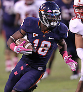 Oct. 22, 2011 - Charlottesville, Virginia - USA; Virginia Cavaliers wide receiver Kris Burd (18) runs with the ball during an NCAA football game against the North Carolina State Wolfpack at the Scott Stadium. NC State defeated Virginia 28-14. (Credit Image: © Andrew Shurtleff