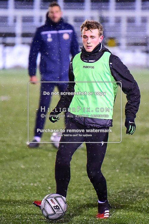 Bromley's Taylor Maloney warms up before kick off.<br /> Bromley | England  | 09 February 2021 | Westminster Waste Stadium<br /> Bromley v King Lynn Town<br /> Vanarama National League<br /> (Photo: © Jon Hilliger / HilligerPix)