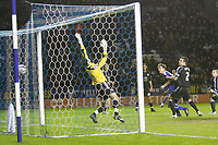Photo: Steve Bond/Richard Lane Photography. Leicester City v Peterborough United. Coca-Cola Football League One. 20/12/2008. Andy King (2nd R) watches his header hit the back of the net. Keeper Joe Lewis dives dispairingly