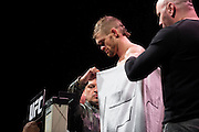 DALLAS, TX - MARCH 13:  Daron Cruickshank stands on the scale during the UFC 185 weigh-ins at the Kay Bailey Hutchison Convention Center on March 13, 2015 in Dallas, Texas. (Photo by Cooper Neill/Zuffa LLC/Zuffa LLC via Getty Images) *** Local Caption *** Daron Cruickshank