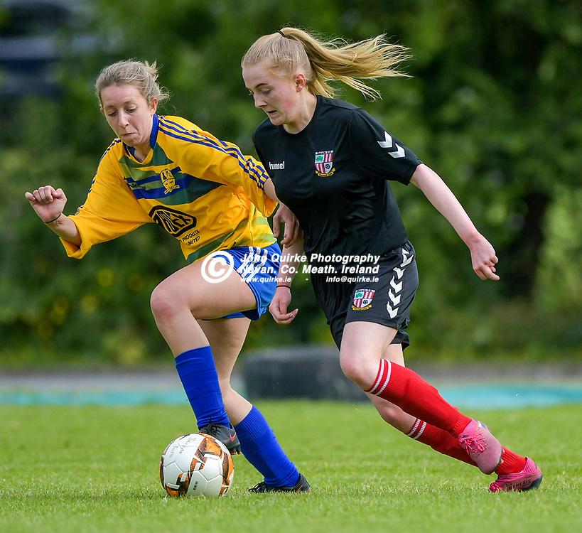 Full Time Score 2 - 2<br /> <br /> Balrath's Meg Ni Scolai on the ball with Eimear Clarke of Skryne/Tara , in the Skryne/Tara v Balrath, North East Football League Women's Div South match, at Ross Cross, Tara.<br /> <br /> Photo: GERRY SHANAHAN-WWW.QUIRKE.IE<br /> <br /> 26-06-2021