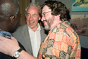 SIMON CALLOW AND GREG DORAN,  'Cries from the Heart' presented by Human Rights Watch at the Theatre Royal Haymarket. London. Party afterwards at the Haymarket Hotel. June 8, 2008 *** Local Caption *** -DO NOT ARCHIVE-© Copyright Photograph by Dafydd Jones. 248 Clapham Rd. London SW9 0PZ. Tel 0207 820 0771. www.dafjones.com.