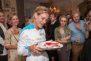 NATALIA VODIANOVA, Afternoon tea to  celebrate the addition of the Naked Heart Dessert to Russian restaurant Mari Vanna's menu,  Mari Vanna, 116 Knightsbridge, London, SW1X 7PJ. August 29 2012.