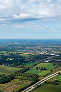 Aerial view of Cottage Grove, Wisconsin, Blackhawk Airport and Interstate 90/94.